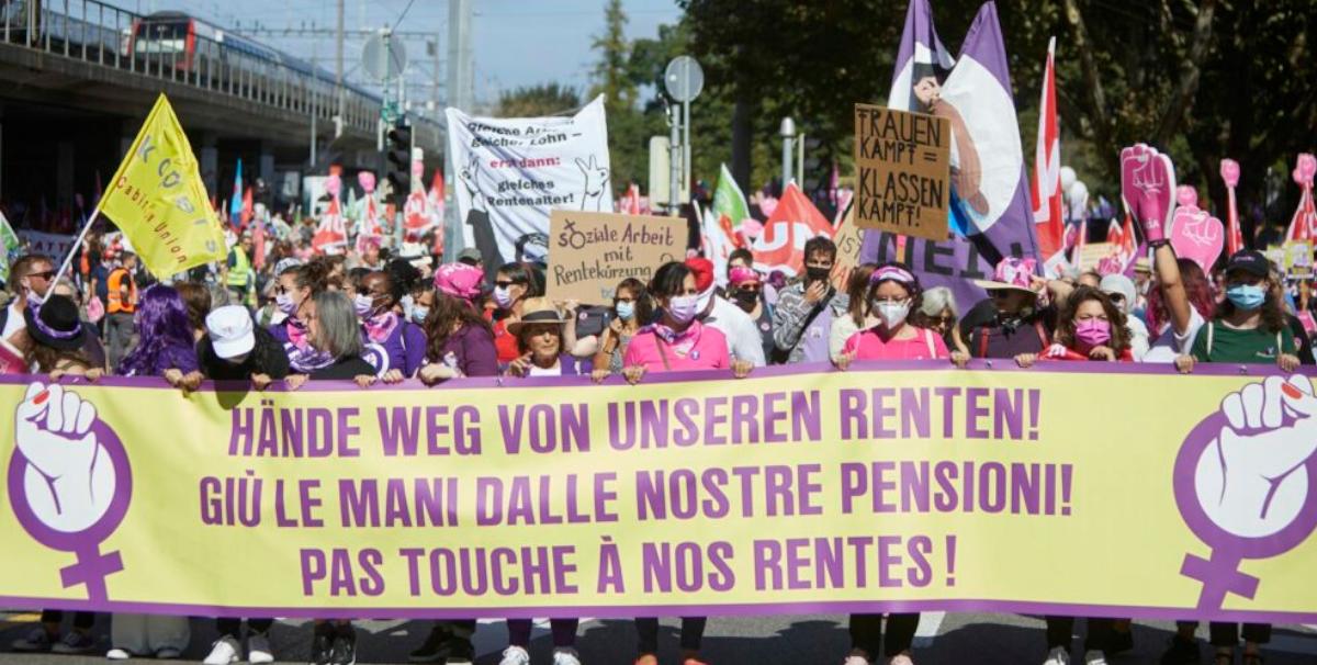 Demonstrierende gegen die Rentenreform am 18. September 2021. Yoshiko Kusano